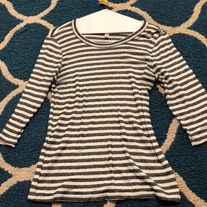 Anthropologie size M/L black/white striped top